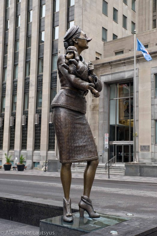 Montreal Sculpture of Woman with the Dog